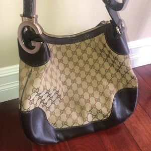 GUCCI Brown Leather GG Canvas Charlotte Hobo Bag